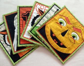 Halloween Mug Rugs Oversized Coasters Small Placemats Quilted Mug Rugs Quilted Placemat Set Mug Rug Set Mug Mat Halloween Theme