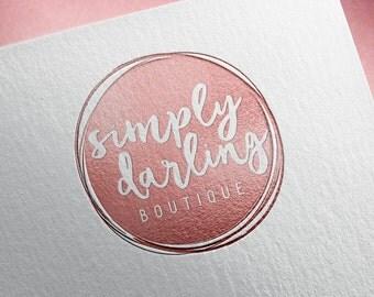 Rose Gold Photography Logo, Circle Logo, Pink Foil Logo, Watermark, Simple Logo Design, Circle Watermark, Initials Logo Design, Premade Logo