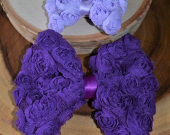 Purple rosette bow hairclip set