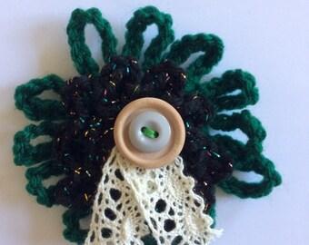 Green Brooch - Lace Brooch - Crochet Pin - Crochet Brooch - Flower Brooch - Green Crochet Brooch - Green Pin - Yarn Brooch - Crochet Rosette