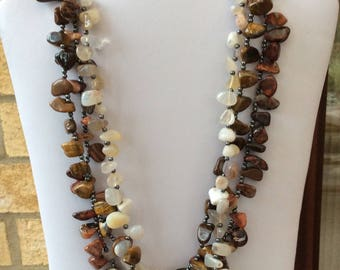 Gemstone beaded necklace, mixed stones necklace, three strand necklace, chunky necklace, statement necklace, brown and cream necklace