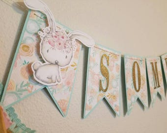 Some bunny is one, some bunny is one banner, bunny birthday banner, floral bunny party decor