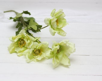 4 flowers on the stem Real touch flowers Artificial flower Fake flowers Light green flowers Flower heads - item 5227