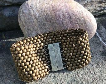 Olive/Brown Peyote Cuff Bracelet