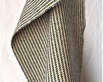 Black and white handwoven guest towel in cotton and linen from AtKathleens