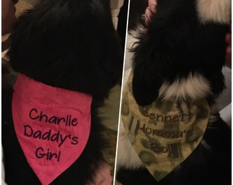 Personalized Reversible Doggie Bandanas