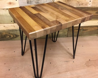 Walnut Side Table with Hairpin Legs