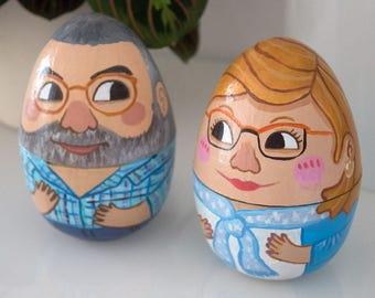 Couple figures paper mache, gift craftsman couples, artistic paper dolls, figures decoration, paper figures, Original wedding gift