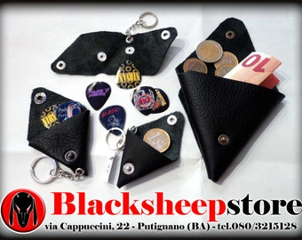 Genuine leather coin purse Keychain/Portaplettro, Made in Italy, available in different colors