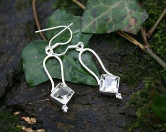 Sterling Silver Green Amethyst Quartz Earrings