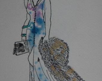 Watercolor Fashion Drawing