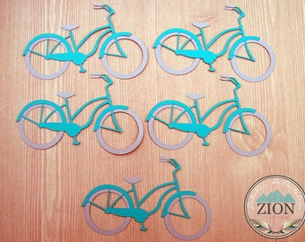 Scrapbooking Retro Bicycle pieces Teal/Gray - vintage - Embellishment