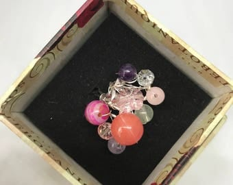 Adjustable wire ring gemstone and crystals