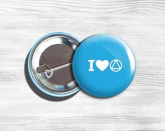 "AA Alcoholics Anonymous Inspirational ""I Love AA"" Pinback Button Pin Blue H 1.75"""