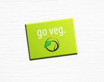 """Vegan Vegetarian Fridge Magnet """"Go Veg"""" Green 2.5x3.5"""