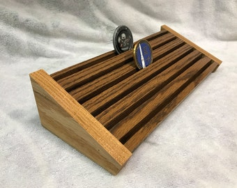 30 Coin Oak Military Challenge Coin Display Rack