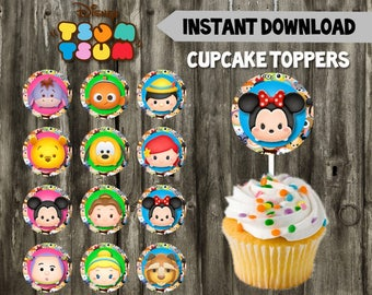 Tsum Tsum Cupcake Toppers // 12 Tsum Tsum Toppers // DIY // Instant Download // Printable // Tsum Tsum Birthday Party // Favors
