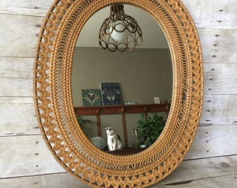 Vintage Boho Wicker Mirror
