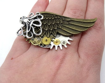 steampunk wing, wheels, octopus ring
