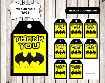 Batman logo Thank you Tags instant download , Batman Thank you Tags, Printable Batman tags