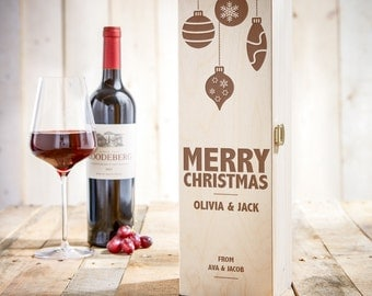 Wooden Wine Box with Christmas-themed Engraving - Personalised with [Name] of Your Choice - Packaging for Wine Bottles