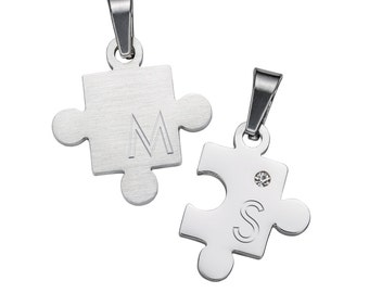Necklace for Couples - Puzzle Pieces - Pendants Personalised with Initials - Jewellery Gifts for Lovers - With Engraving