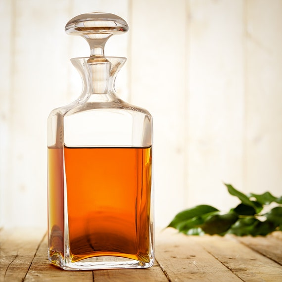 Elegant Whisky Decanter With Mushroom Shaped Stopper - Whisky Carafe in Unusual Design - Gifts For Him