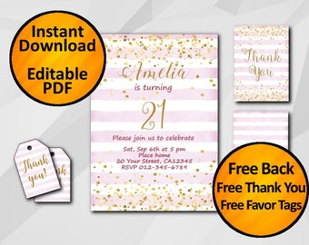 21st birthday invitation with back, thank you card & favor tags SALE 60% OFF Instant Download editable 1st 13th 15th 18th 30th 50th X325fs5