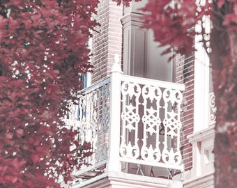Framed By Foliage - balcony decor, urban photography, romantic city print, large art print, Nijmegen print, architecture photography, canvas