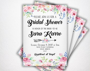 CUSTOM, Bridal Shower Invitations Printable bridal invite  bridal shower invitation Floral bridal shower invitation Bride to be invite #w1