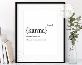 Karma Dictionary Definition Meaning, Printable Wall Art, Karma Quotes, What Goes Around, Modern Black Type, Home Decor, Digital Print Design