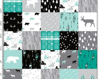 Designer Patchwork Minky - Bear Minky - Woodlands Fabric- Fabric by the Yard - Faux Quilt Minky - Animal Fabric- Ships out in 1-2 Days