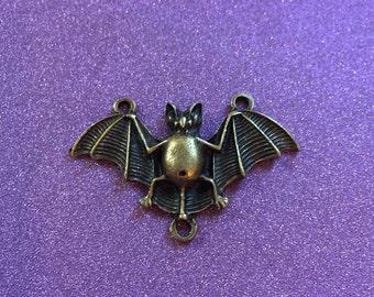 1 Antique Bronze Bat Charm