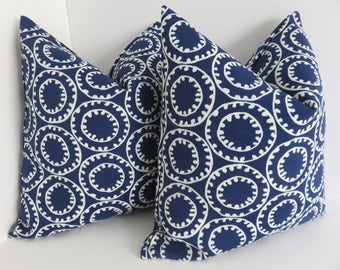 Outdoor/Indoor Pillow Covers- Outdoor Pillow Covers- Blue White Pillow Covers- Blue Marine Pillow Covers- Blue pillows- Outdoor Pillows