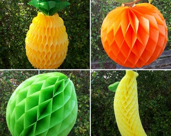 Large Vintage Honeycomb Paper Fruit Decorations