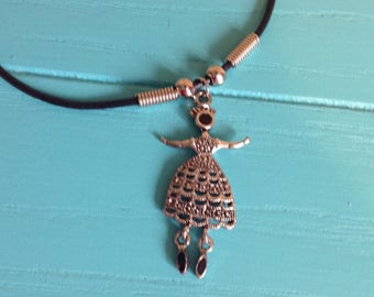 Vintage Necklace with large Metal Lady Charm