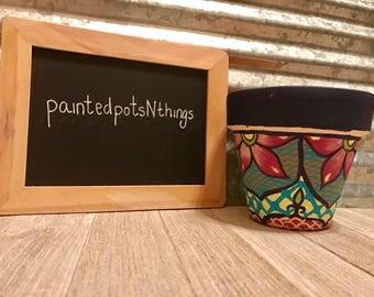 Talavera Themed Hand Painted Flower Pot