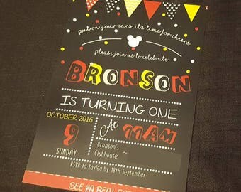 Mickey Mouse 5 x 7 Birthday Invitation