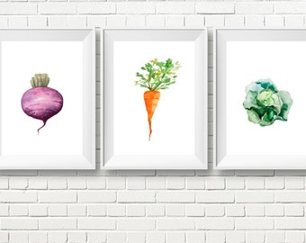 Set of Three Watercolor Kitchen Art Prints, Vegetable Print, Kitchen Print, Kitchen Decor, Watercolor Vegetable Poster, Vegetable Print