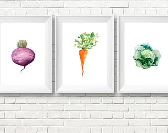 Set of Three Watercolor Kitchen Art Prints, Vegetable Print, Kitchen Print, Kitchen Decor, Watercolor Vegetable Poster, Vegetable Print