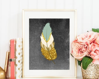 Gold Feather on Black, Black Background, gold feather art, Gold Aqua feather, White brown feather, 3d feather art, feather home decor