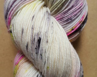 Hand Dyed Neon Speckled Sock Yarn ~  Good Intentions ~ Sockcess ~ Fingering   ~ 75/25 superwash merino/ nylon or Sport Weight ~ 80/20