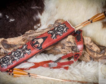 Back quivers for arrows real leather assassin creed motifs LARP, Arch, Knight medieval, fantasy. Traditional,.