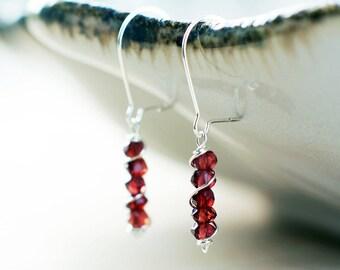 Sterling silver Garnet earrings   January birthstone earrings   Natural gemstone earrings   Wine red earrings   Dainty burgundy earrings