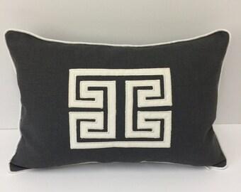Designer Applique Pillow - Mary McDonald Grey Linen Schumacher Designer Pillow