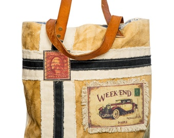 Canvas and leather tote with stamp for the weekend - Women's handbag, Eco Friendly, Strong bag, Beautiful bag, Handmade bag, young bag