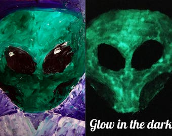 Glow in the dark painting Glow painting Glow in the dark art Alien art Space invaders Glowing art Color changing art Glow art Martians Scifi
