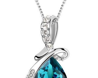 Perfect Christmas Gift Women Fashion White Gold Plated Pendant Necklace with Swarovski Elements Crystal