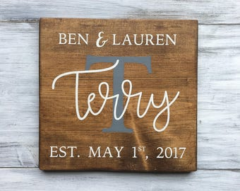 Custom Family Name 12 x 12 Wood Sign | Marriage Date | Housewarming Gift | Newlywed | Wedding Gift | Anniversary Gift | Valentine's Day Gift