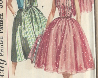 "1957 Vintage Sewing Pattern B36"" DRESS & JACKET (R486) Simplicity 1988"